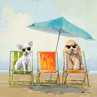 Chihuahua Poodle Beach Dogs Wall Art Modern Printing On Canvas Painting with Hand Embellished Home Decor 28