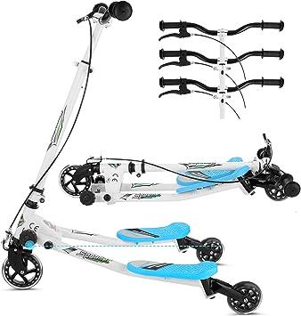 Patinete en forma de Y, 3 ruedas, plegable, propulsada mediante balanceo, para mayores de 5 años