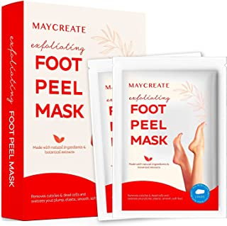 Maycreate Foot Peel Mask For Cracked Heels, Dead Skin & Calluses, Exfoliating Peeling Natural Treatment, Make Your Feet Ba...