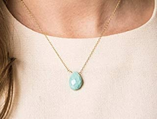 Delicate Sleeping Beauty Turquoise Gemstone Necklace on 14K Gold Filled Chain