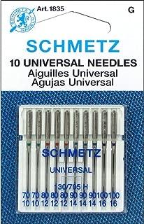 50 Schmetz Assorted Universal Sewing Machine Needles 130/705H 15x1H Sizes 70/10, 80/12, 90/14, 100/16 (5)