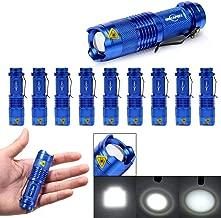 10 Pack Mini Flashlights LED Flashlight 300lm Adjustable Focus Zoomable Light (Blue)