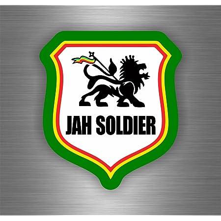 Akachafactory Selbstklebend Sticker Auto Rasta Jah Reggae One Love Löwe Jamaikanische Flagge Ref5 Auto