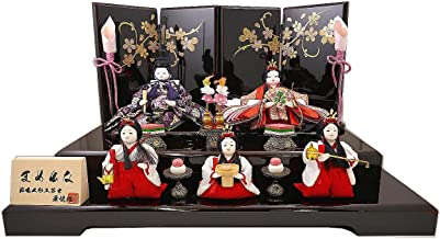 【人形の秀月】節句人形工芸士 華悦作 雛人形(ひな人形) 五人飾り「曙塗り」 ひな人形 まめひな 初節句 間口/43㎝ 奥行/27㎝ 高さ/25㎝