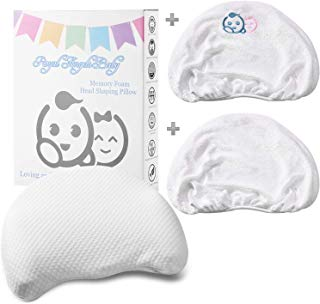 Flat Head Baby Pillow   Baby Head Shaping Pillow   Memory Foam Baby Pillow Cotton Cover & 2 Bamboo Pillowcases   Keep Baby's Head Round  Infant Pillow to Prevent Flat Head Syndrome in Infant Newborns