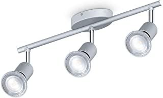 B.K.Licht I 3-flame LED ceiling spot I 3x 5W iluminador GU10 I 3x 400lm I giratorio I IP20 I 4000K blanco neutro I color titanio