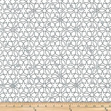 Stof Fabrics of Denmark Stoffabric Denmark Christmas Wonders Metallic Stars White
