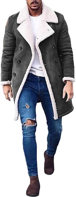 Men's Fall Winter Suede Double Breasted Fleece Polar Fleece Quilted Jacket Coat Outerwear