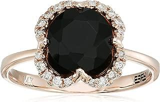 Womens 14K Rose Gold Black Agate Ring, 7