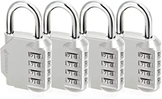 Fosmon Combination Lock (4 Pack) 4 Digit Combination Padlock with Alloy Body for School, Gym Locker, Gate, Bike Lock, Hasp and Storage - Silver