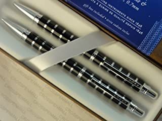 أسطوانة سوداء إكسكيوتيف كومبانيون من كروس كلاسيك مع قلم فضي مخطط وقلم رصاص 0.7 مم.