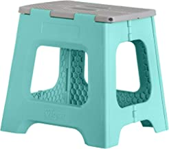 Vigar Compact Foldable Stool, 13 inches, Lightweight, 330-pound Capacity Non-Slip Folding Step Stool for Kids and Adults, Turquoise