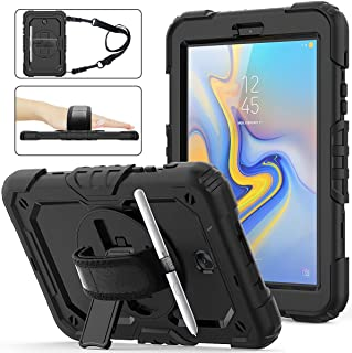 Samsung Galaxy Tab A 8.0 Case 2018 with Screen Protector, SM-T387 SIBEITU Three Layer Heavy Duty Hard Rugged Protective Shockproof Case with Stand/Handle Hand Strap/Shoulder Strap for -Kids, Black