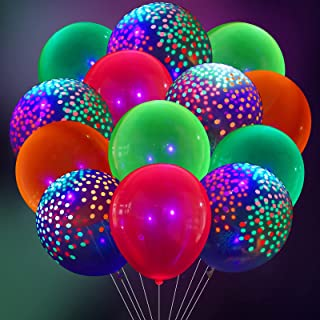 80 Pieces Neon Party Balloons, 30 Pieces 12 Inch Fluorescent Mini Polka Dot Balloon Neon Balloons and 50 Pieces Blacklight...