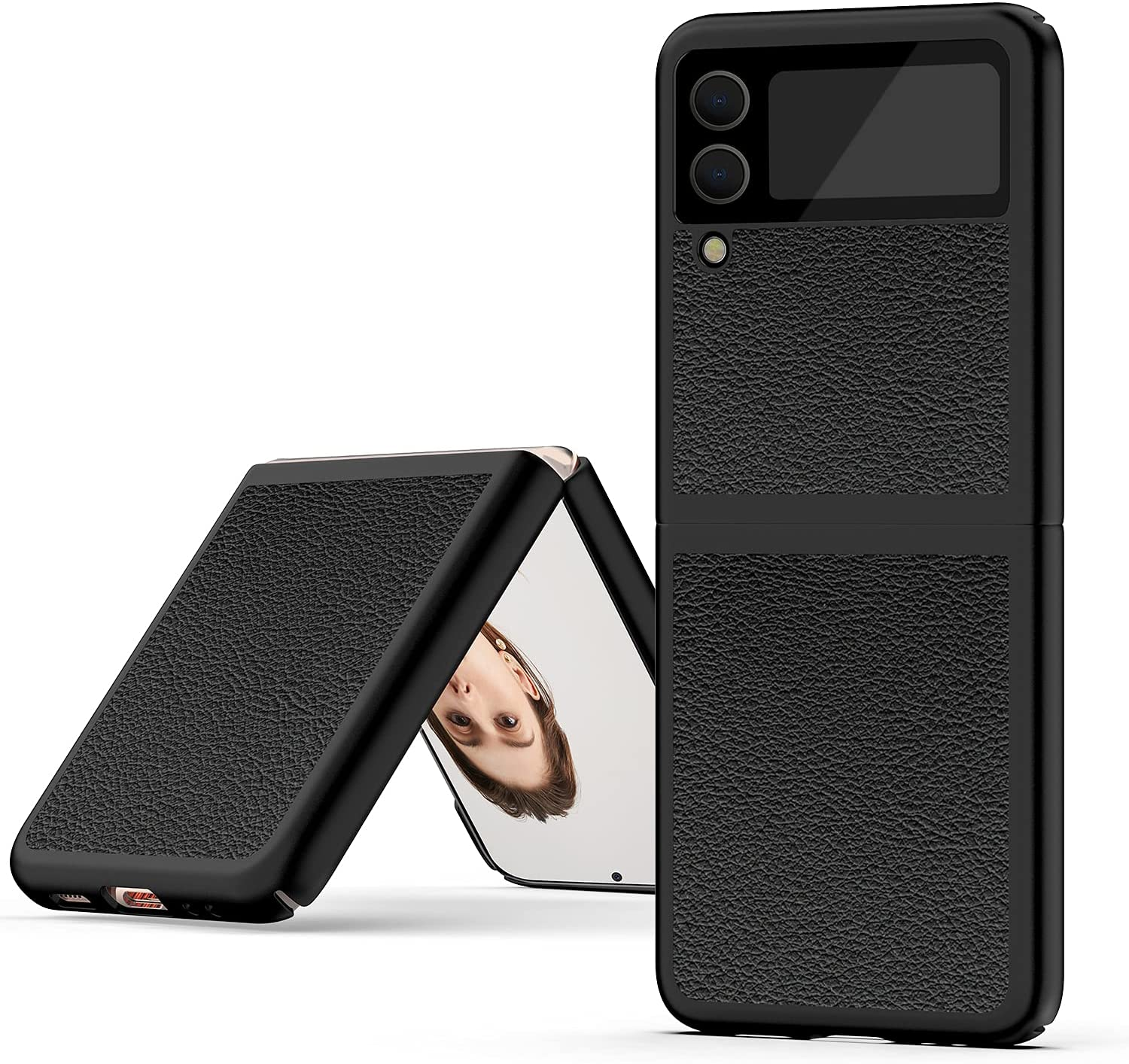 Case for Galaxy Z Flip 3,WATACHE Stylish Slim & Thin Soft Litchi Pattern PU Leather Comfortable Secure Grip Anti-Fingerprint Non-Slip Protective Shock-Absorbing Compatible with Galaxy Z Flip 3,Black