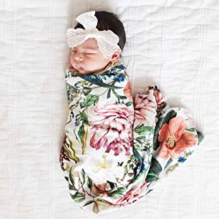 Little Moonpie Newborn Receiving Blanket Swaddle Blanket Baby Snug Wrap -Botanical Garden Floral Pattern (Headband is not Included)