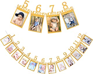 Qibote 1st Birthday Bunting Garland Baby Photo Banner Baby 1-12 Month Gold Glitter Photo Prop Party Bunting Decoration