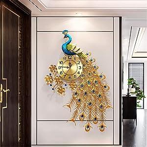 Large Peacock Wall Clock 31.5 inch Metal Design Non-Ticking Silent Art Digital Wall Clocks for Living Room Decor