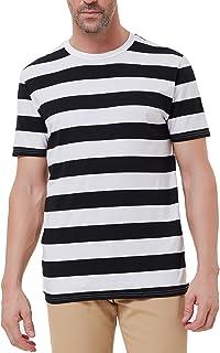Paul Jones Men's Crew Neck Striped T-Shirt Long Sleeve Cotton Shirt