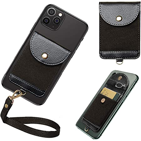 COCASES Phone Card Holder, Ultra-Slim Phone Wallet Self Adhesive Stick on Card Holder Pocket with Detachable Hand Strap Credit Card Wallet Compatible with Most Smartphones (Black)