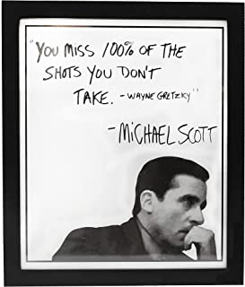 Michael Scott The Office Motivational Quote Frame Wall Art Decor 8x10 The Office Gift - You Miss 100% Of The Shots You Don...
