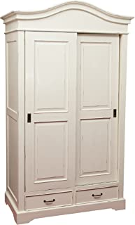 Armoire en bois massif finition blanche vieillie aux dimensions L123 xPR65 xH211 cm
