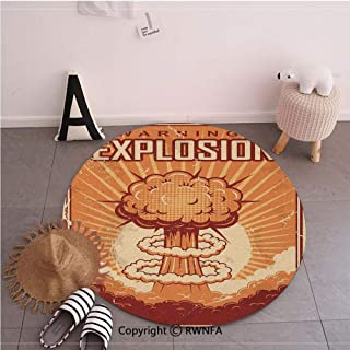 Commercial Grade Standing Mat,Vintage Pop Grunge Nuclear Atomic Explosion with Latin Words Graphic Apricot Ruby,35.4inches,Rugs for Office Stand Up Desk,Circle 5-Feet Diameter