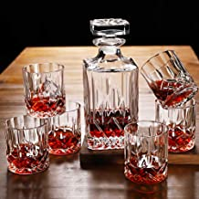 Set of 6 Tumbler Glasses & Whiskey Decanter,Original Crystal Liquor Decanter Set for Bourbon, Scotch, Vodka or Whisky,Idea...