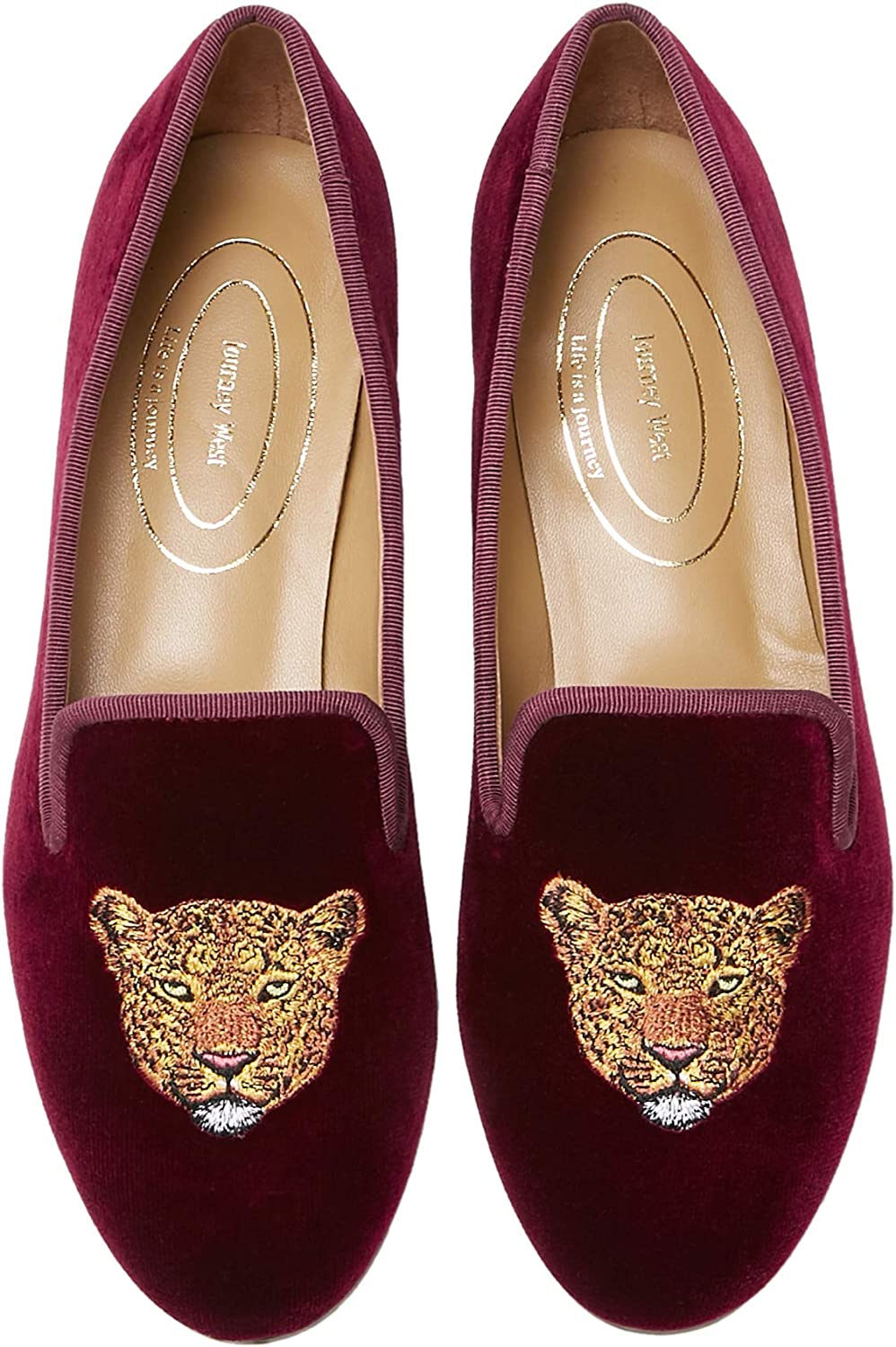 Journey West OUTLET SALE 人気 Women's Velvet Loafer Embroidery with Smoking Flat