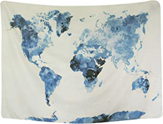 BLEUM CADE Blue Watercolor World Map Tapestry Abstract Splatter Painting Tapestry Wall Hanging Art for Living Room Bedroom Dorm Home Decor 59