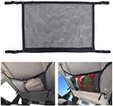 BRITOR Car Ceiling Storage Net Pocket-Universal Car Roof Interior Cargo Net Bag with Zipper,Car Trunk Storage Organizer Sundries Storage Bag for Jeep Van SUV (First Generation, Black)