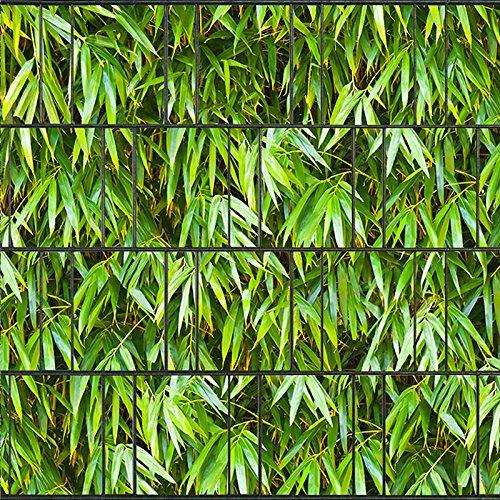 Bedrukte inkijkbeschermingsstroken voor dubbelstaafmatten hek op rol, incl. 25 klemrails bamboebladeren.