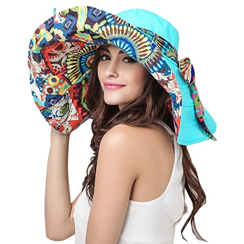 Women s Foldable Floppy Reversible Travel Beach Sun Visor Hat Wide Brim UPF  50+ b1b36f3bef9b