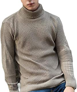 Men Long Sleeve Knitted Turtleneck Pullover Sweater