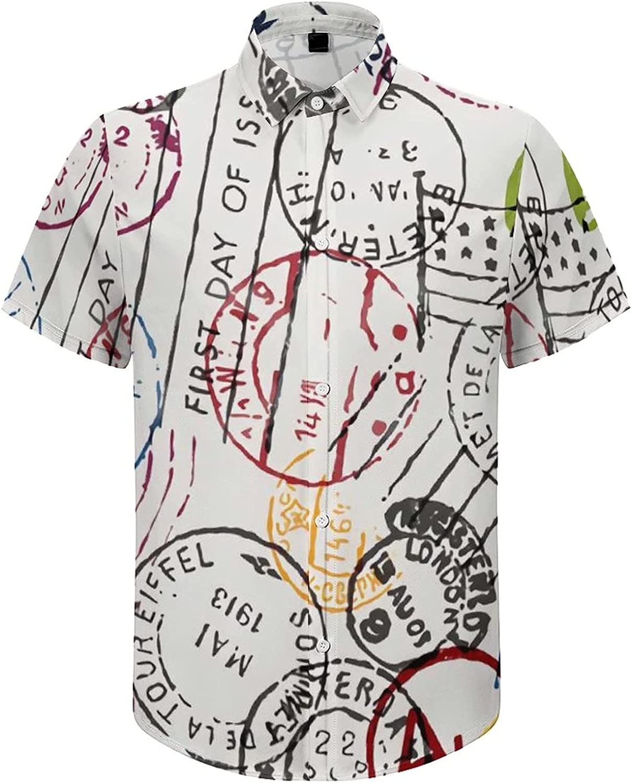 Men's Short Sleeve Button Down Shirt Mail Stamps Summer Shirts