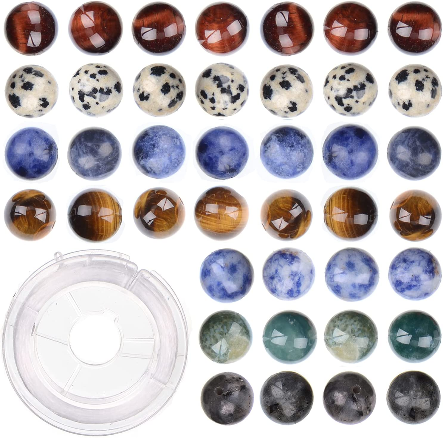 10mm 80pcs Natural Fresno Mall Assorted Color Round for Loose Beads Jewelry Branded goods