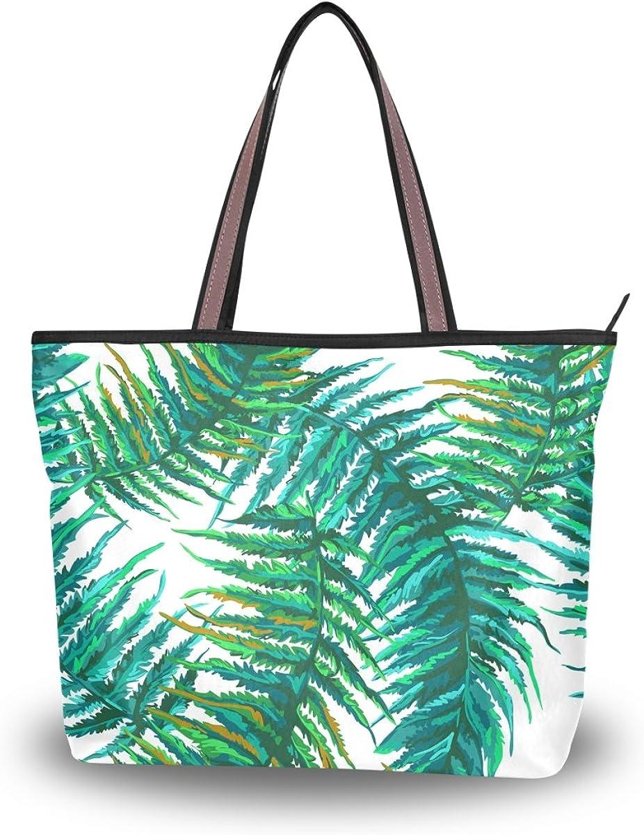 JSTEL Women Large Tote Top Handle Shoulder Bags Tropical Leaves Patern Ladies Handbag L
