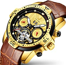 Automatic Mechanical Wrist Watches for Men Leather Date Tourbillon Watch