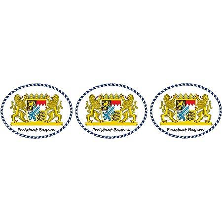 Etaia 10x Mini Premium Aufkleber 5x6 5 Cm Freistaat Bayern Löwen Wappen Mit Schriftzug Kleine Sticker Motorrad Fahrrad Auto Bike Auto