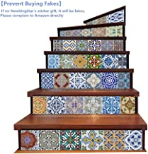 Vintage Tile Stickers Tile Decals for Kitchen Walls Peel and Stick Bathroom Tile Stickers Decals Decorative Stair Riser Decals Vinyl Stair Decals Stair Stickers Removable 7''x 39''x6PCS