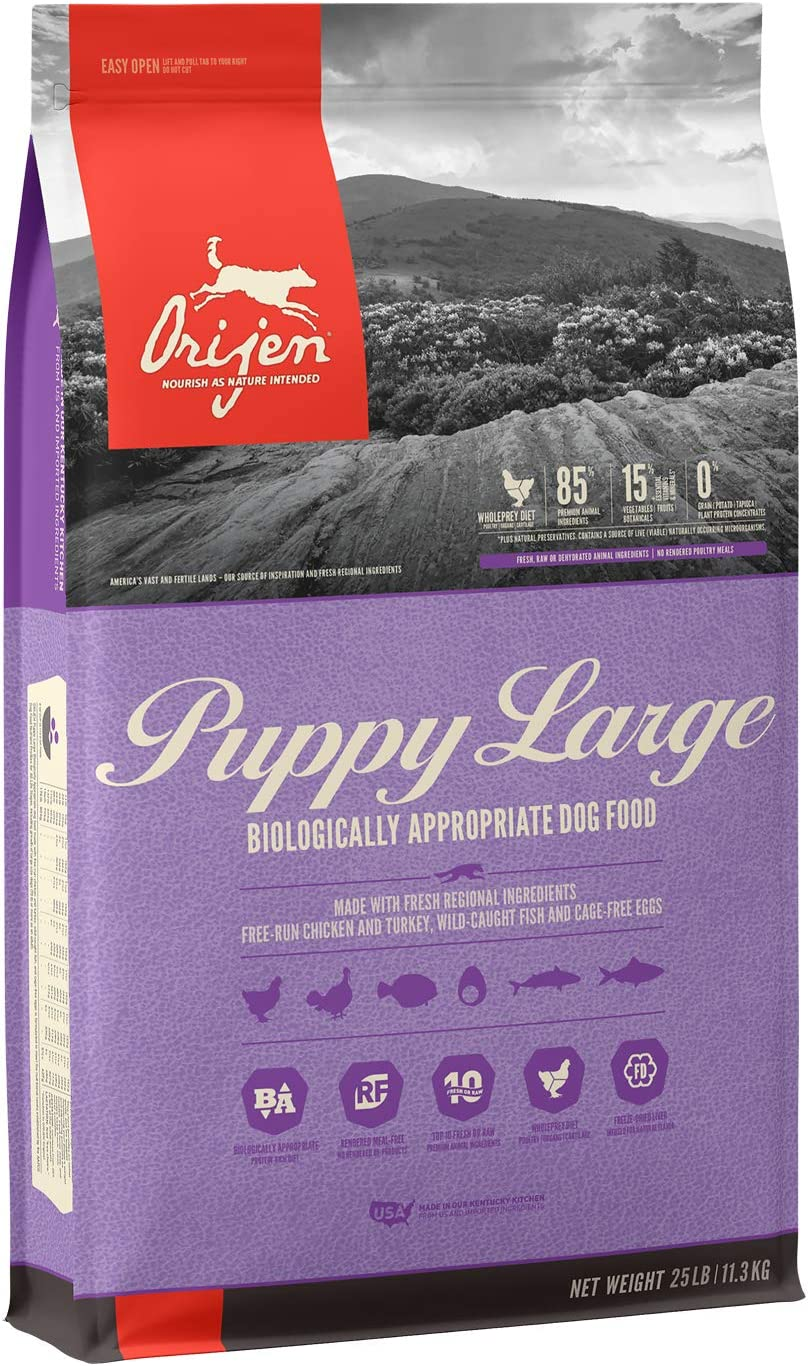 ORIJEN Puppy Dry Dog Food for Large Breeds, Grain Free, High Protein Fresh and Raw Animal Ingredients