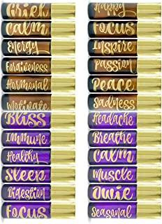 Vinyl Essential Oil Labels Fits 10ml Roller Bottles, 24 Oil Bottle Labels, The Perfect Essential Oil Accessories and Stickers that are Oil Proof and Waterproof (Gold)