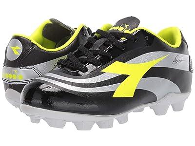 Diadora Kids RB10 Mars R MD JR Soccer (Little Kid/Big Kid) (Black/Yellow/Silver) Kids Shoes