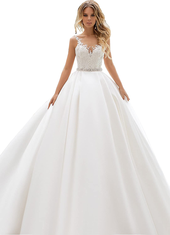 2018 Lace V Neck Wedding Dress Beaded Bridal Dresses Appliques Straps Wedding Gown J84