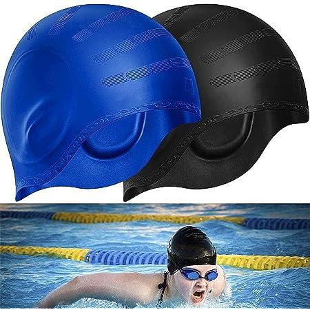 BETOY Cuffia da Nuoto per la Protezione delle Orecchie 3D - Cuffia Piscina Donna Uomo - Cuffia Nuoto Silicone Impermeabile - Cuffia Doccia Donna - Cuffia Piscina Capelli Lunghi e Corti