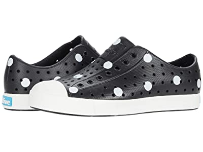 Native Kids Shoes Jefferson Print (Little Kid) (Jiffy Black/Shell White/White Polka Dots) Girls Shoes