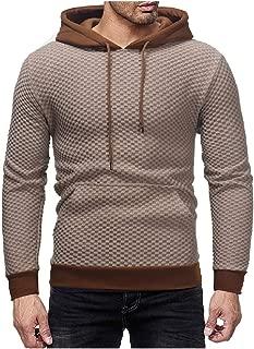 Energy Men's Plaid Long Sleeve Hooded Drawstring Cargo Pocket Pullover Tracksuit Top