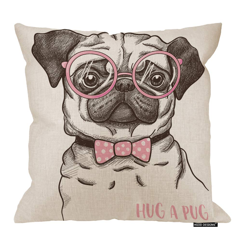 Amazon Com Hgod Designs Pug Decor Throw Pillow Cushion Cover Funny Fashionable Gentle Pug With Pink Glasses And Tie Cotton Linen Decorative Square Accent Pillow Case 24x24 Inches Home Kitchen
