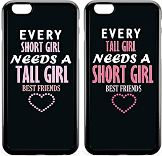 iPhone 7 Case BFF Case,Cute Funny Best Friends Forever BFF Sister Cousins Couple Every Tall Girl Needs A Short Girl Sisters BFF Matching Pink Funny Love Forever Soft Black Case for iPhone 8