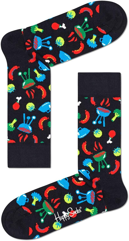 Happy Socks Unisex Printed Barbeque Combed Cotton Socks